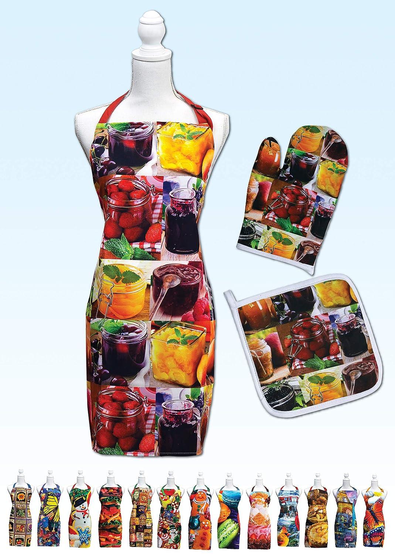 Springbok Jellies and Jams Adjustable Kitchen Apron, Oven Mitt and Pot Holder Set