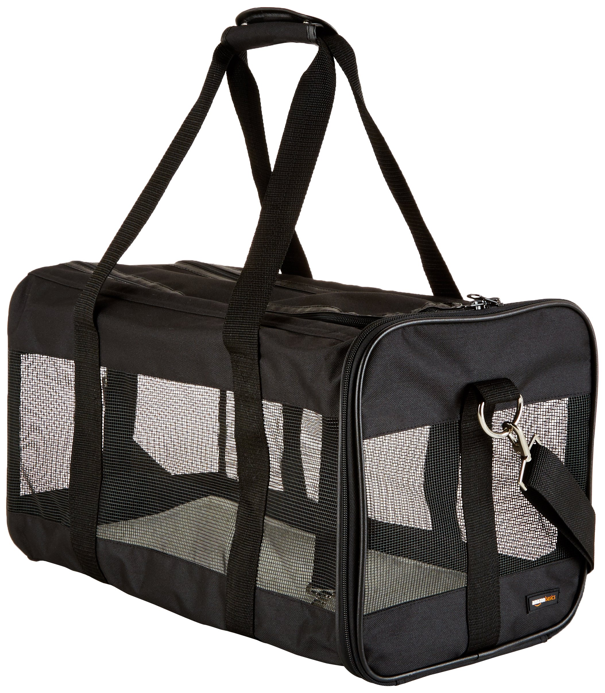 AmazonBasics Large Soft-Sided Mesh Pet Transport Carrier Bag - 20 x 10 x 11 Inches, Black by AmazonBasics