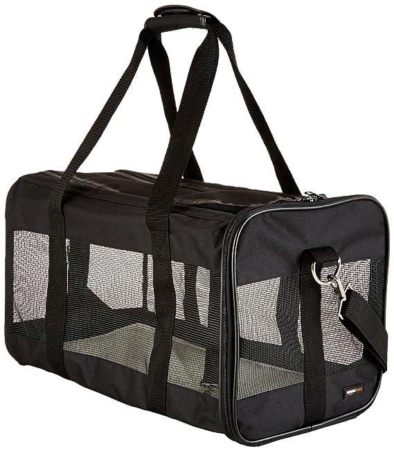 AmazonBasics Sac de transport à parois souples pour animal de compagnie Noir TailleL