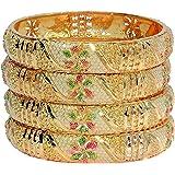 Tradional Fancy Designer Casual Orignal Look Meena Hand Work Party Wedding Wear One Gram Gold Golden Bangles For Women