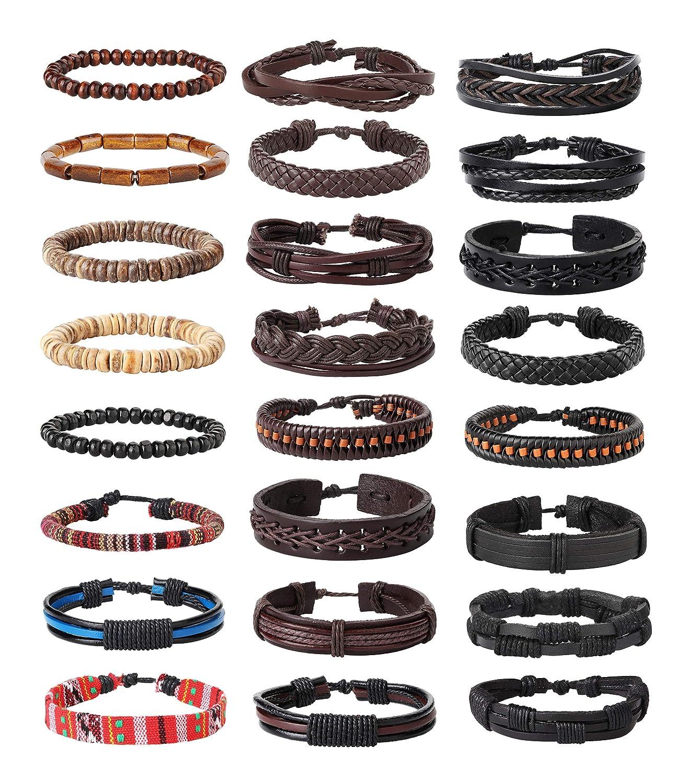 FIBO STEEL Life Bracelet for Men Women Tribal Leather Bracelet Wristbands Adjustable … FBB-MLB-24