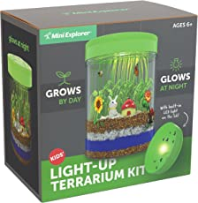 Mini Explorer Light-up Terrarium Kit for Kids with LED Light on Lid   Create Your Own Customized Mini Garden in a Jar that Glows at Night   Great Science Kits Gifts for Children   Kids Toys   by