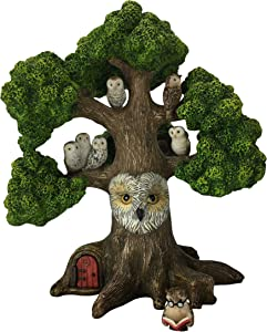 Fairy Garden Tree - Theodore The Owl's Miniature Tree (9.5 Inch Tall) for The Garden Fairies and Garden Gnomes - Part of The Beautiful Azarian Collection by GlitZGlam. A Fairy Garden Accessory