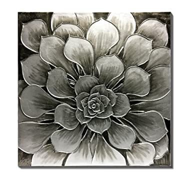 3Hdeko - Silver Flower Canvas Wall Art Gray Geometric Symmetry Picture Artwork Large Hand-Painted Wall Decor for Home Dining Living Room Bedroom Modern Concise Floral Oil Painting