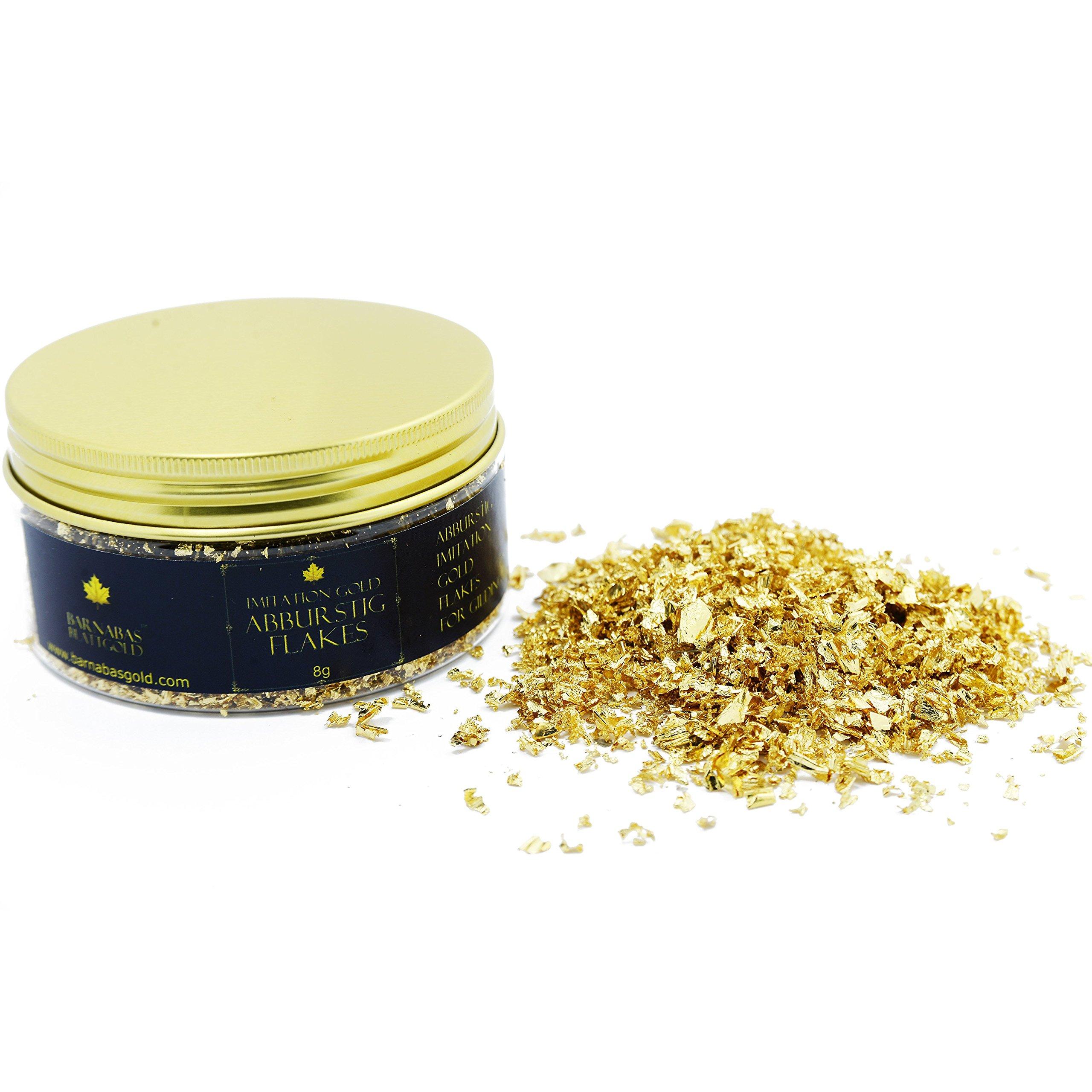 Imitation Gold Leaf Abburstig Flakes Metallic Foil Flakes for Gilding, Painting Arts and Crafts (10oz jar)