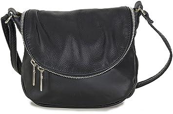 304925481e33e Taschenloft Damen Leder Handtasche schwarz klein Umhängetasche Kleine Tasche  Schwarze Umhängetaschen Mini Beuteltasche zum umhängen Crossbody