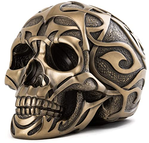 Top Collection Decorative Skull Statue – Hand Painted Human Skull Sculpture – Collectible 4.5-Inch Gothic Halloween Pagan Figurine Tribal Bronze