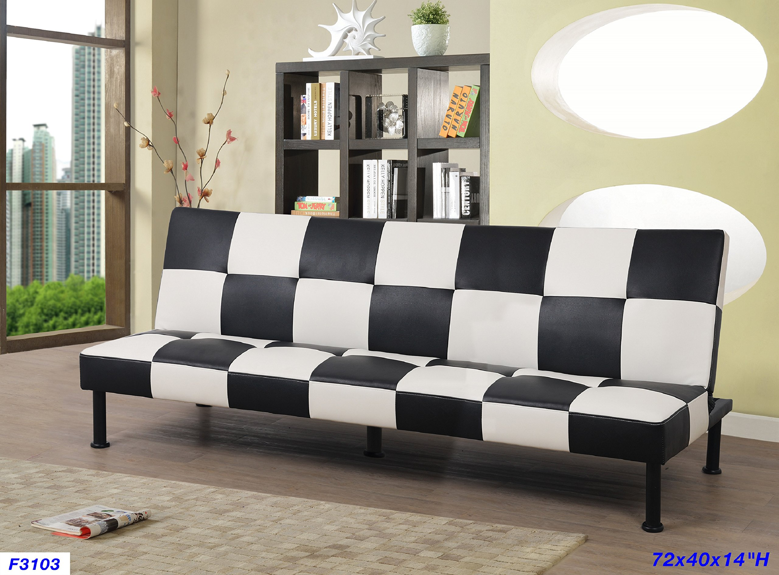 Beverly Furniture F3103 Futon Convertible Sofa Black/White by Beverly Furniture