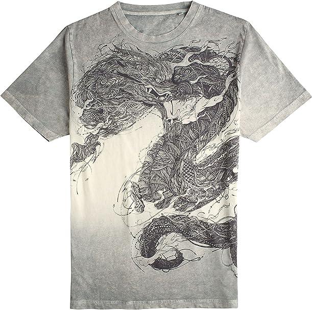 next Hombre Camiseta Efecto Desteñido Dragón Corte Regular ...