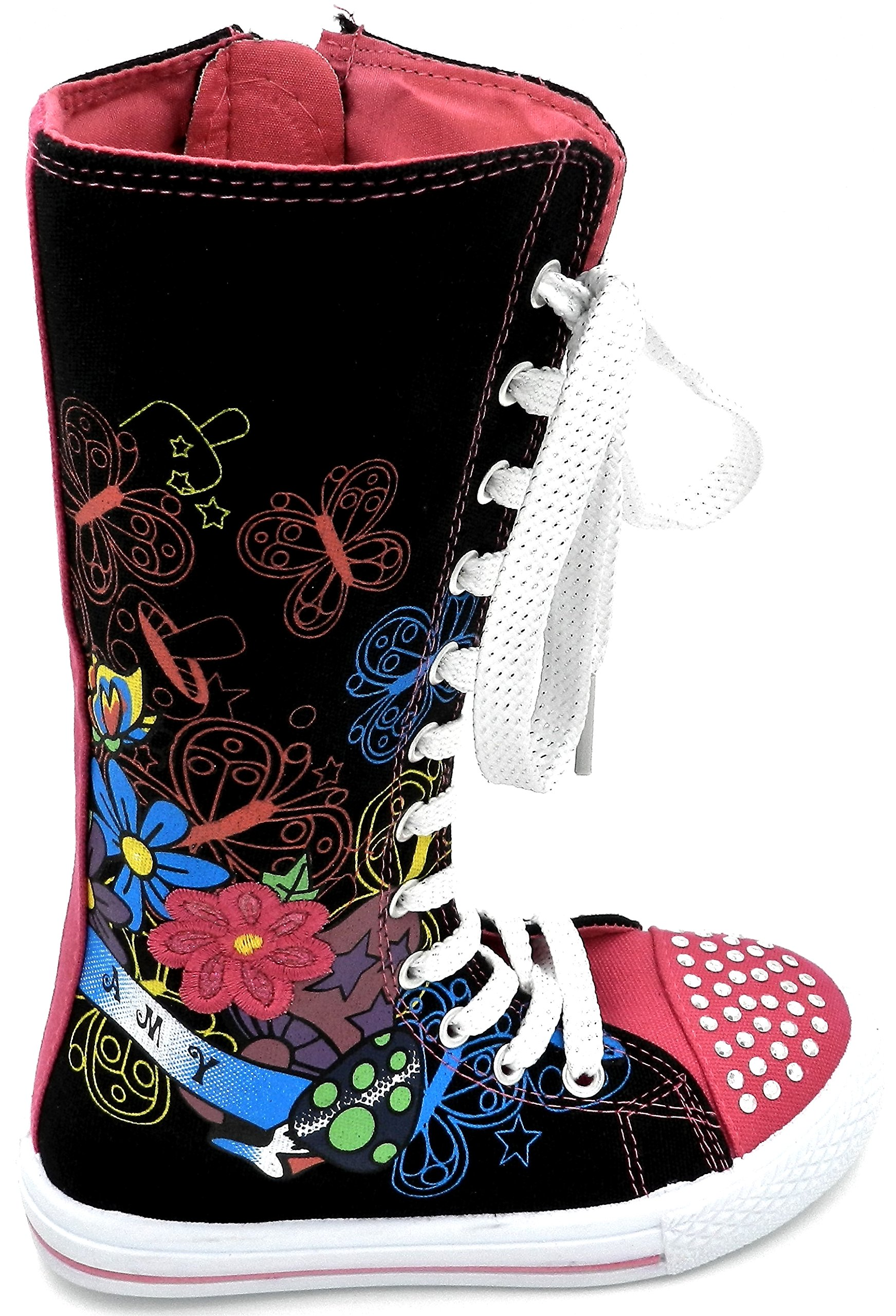 Girls Knee High Classic Canvas Lace up Flat Skatter Shoe Boots