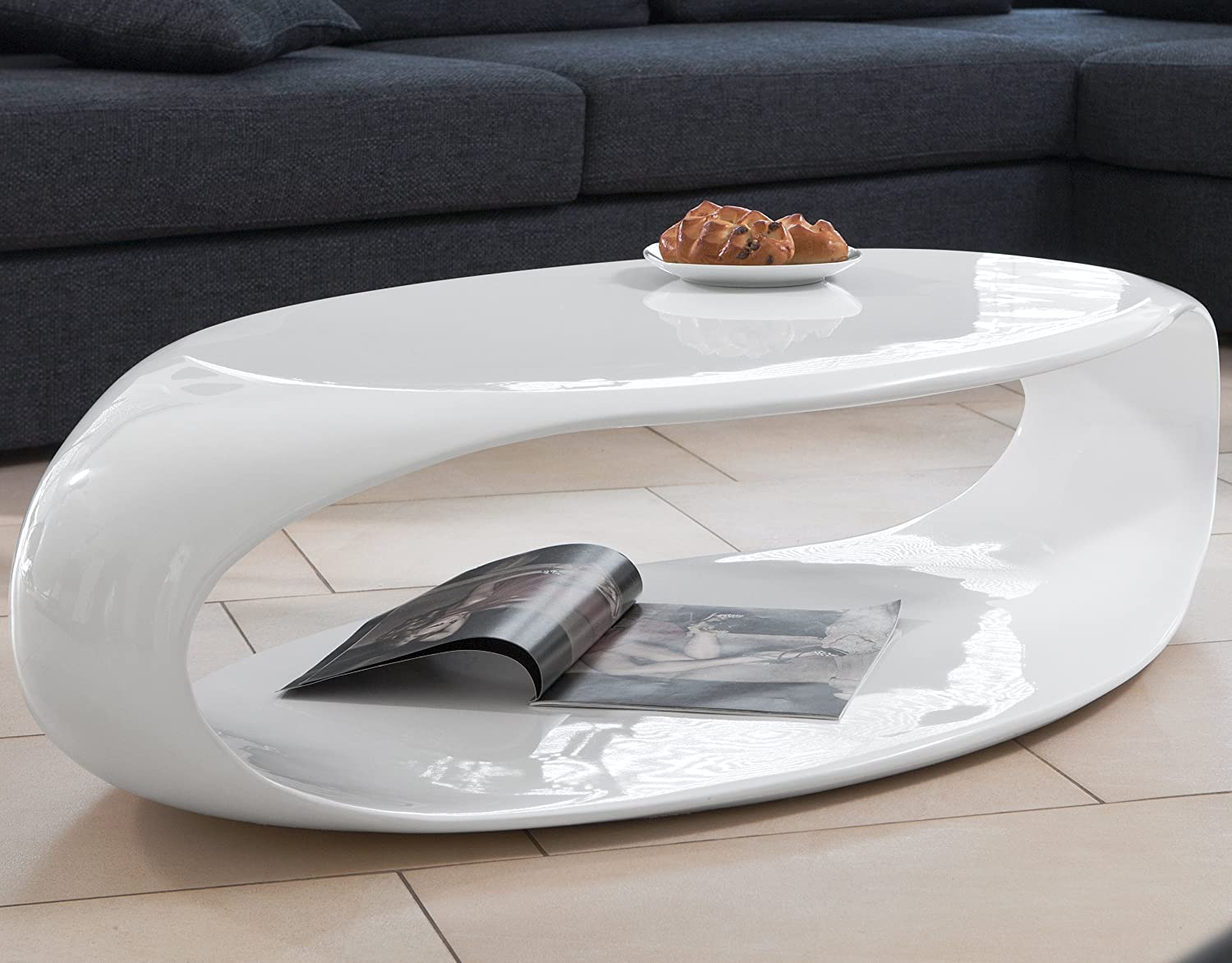 Salesfever Couch Table White High Gloss 120 X 60 Cm Fibreglass Right Square August Futuristic Living Room Table In Retro Look With Lots Of Storage Area 120 X 60 Cm Amazon De Kuche Haushalt