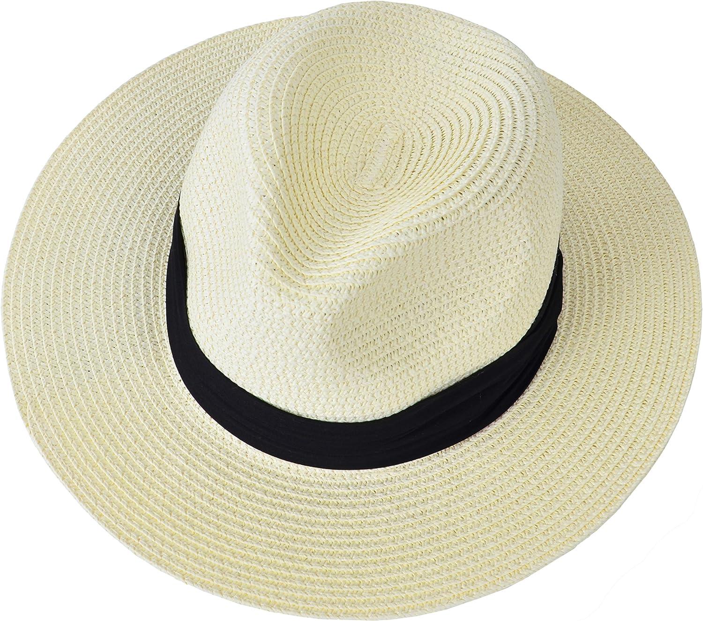 EEVASS Donne di Estate Bordo Largo Pieghevole Panama Cappello della Spiaggia del Sole della Paglia della Protezione UV