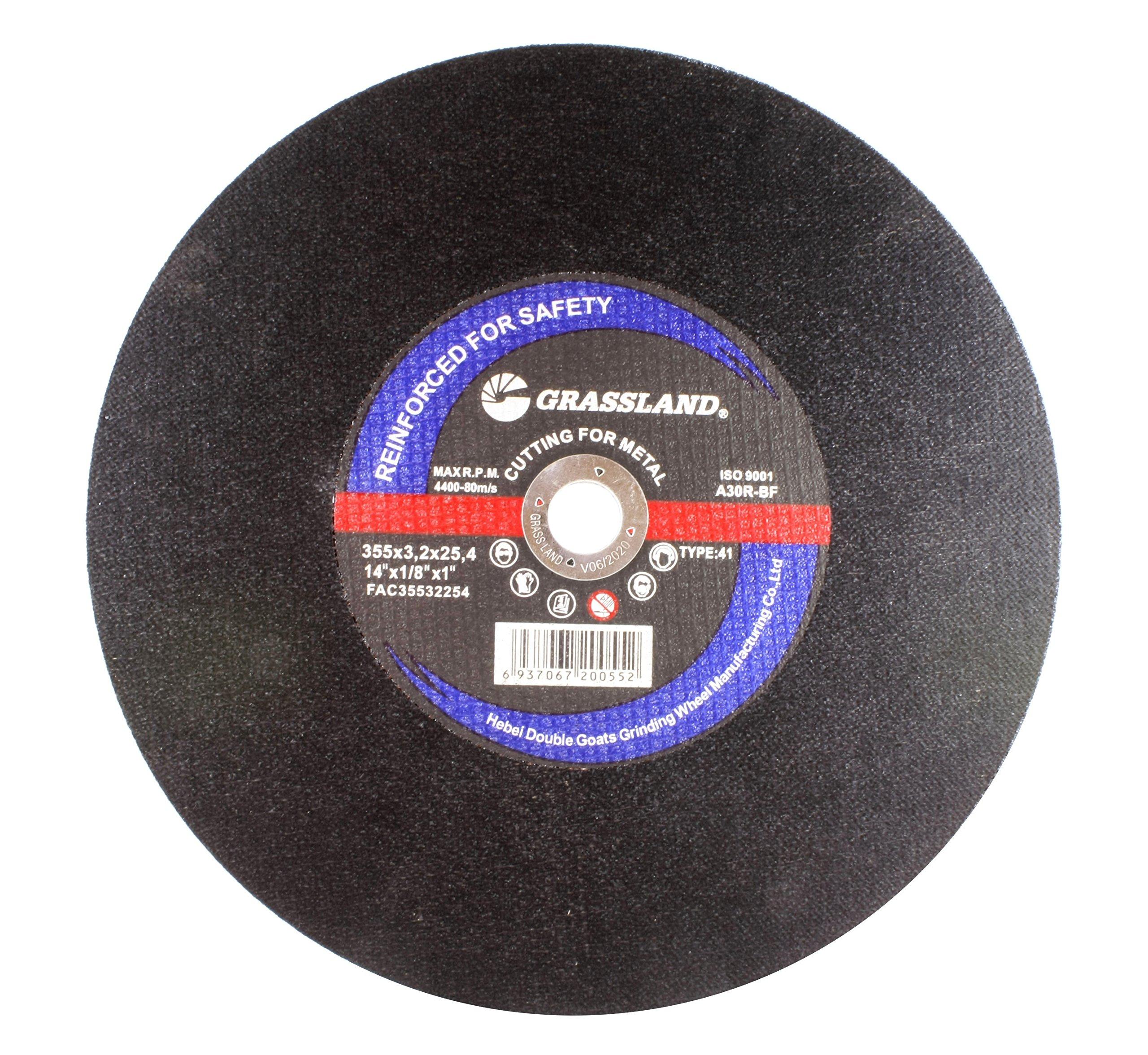 Cutting Disc, Steel Cut-off Wheel for Chop Saw - 14'' x 1/8'' x 1'' - T41 - (10 PACK)