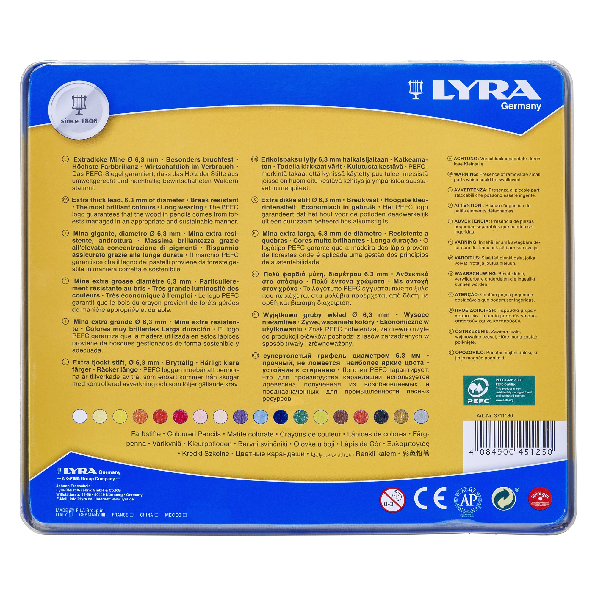 LYRA Super Ferby Giant Triangular Colored Pencil, Unlacquered, 6.25 Millimeter Cores, Assorted Colors, 18-Pack (3711180) by Lyra (Image #3)