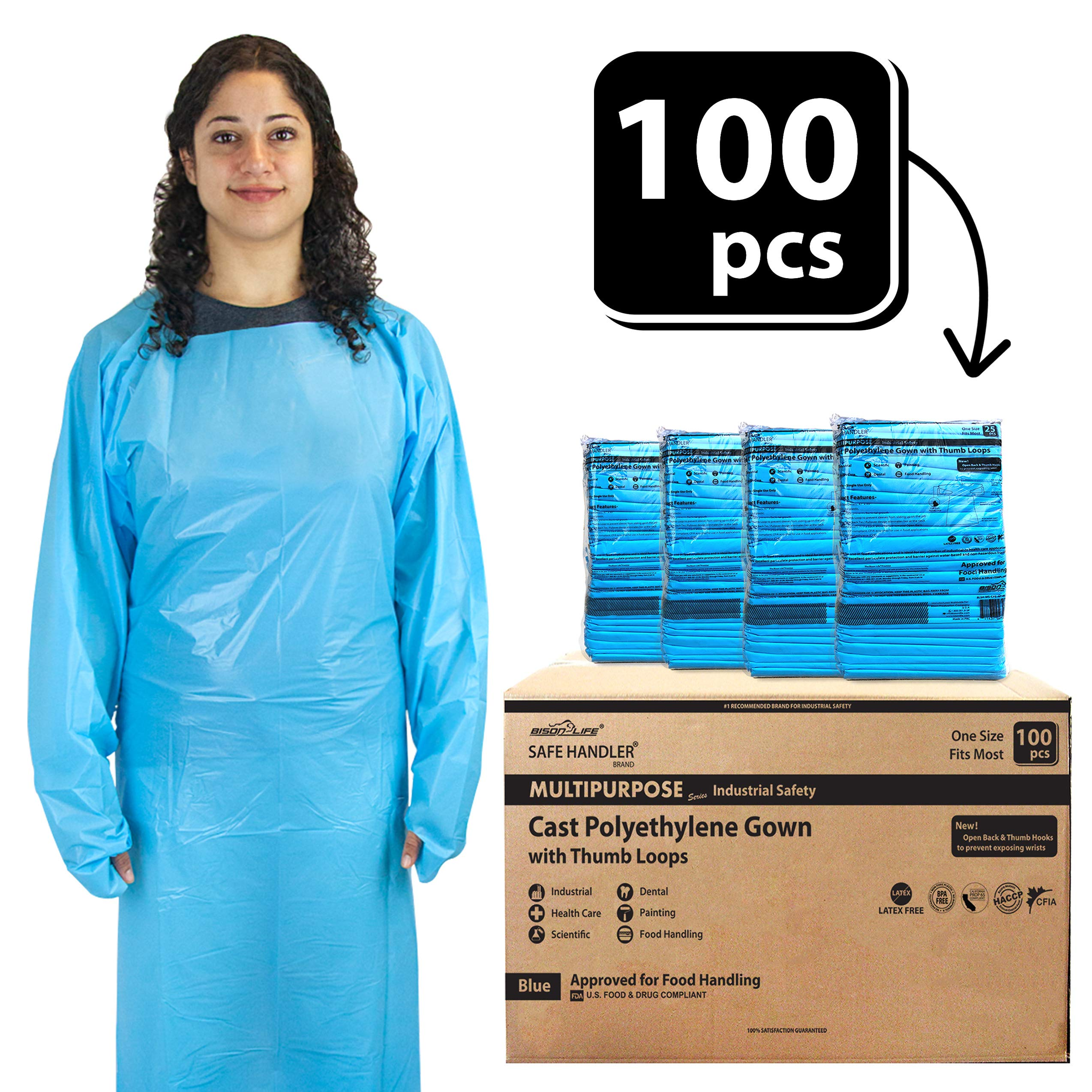 SAFE HANDLER Disposable Sleeve Gown | Open Back with Thumb Loops, 0.5 MIL, Blue, 100 Count by Safe Handler (Image #1)