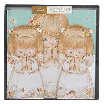Angels Christmas Cards.Amazon Com Hallmark Signature Glitter Angels Design Boxed