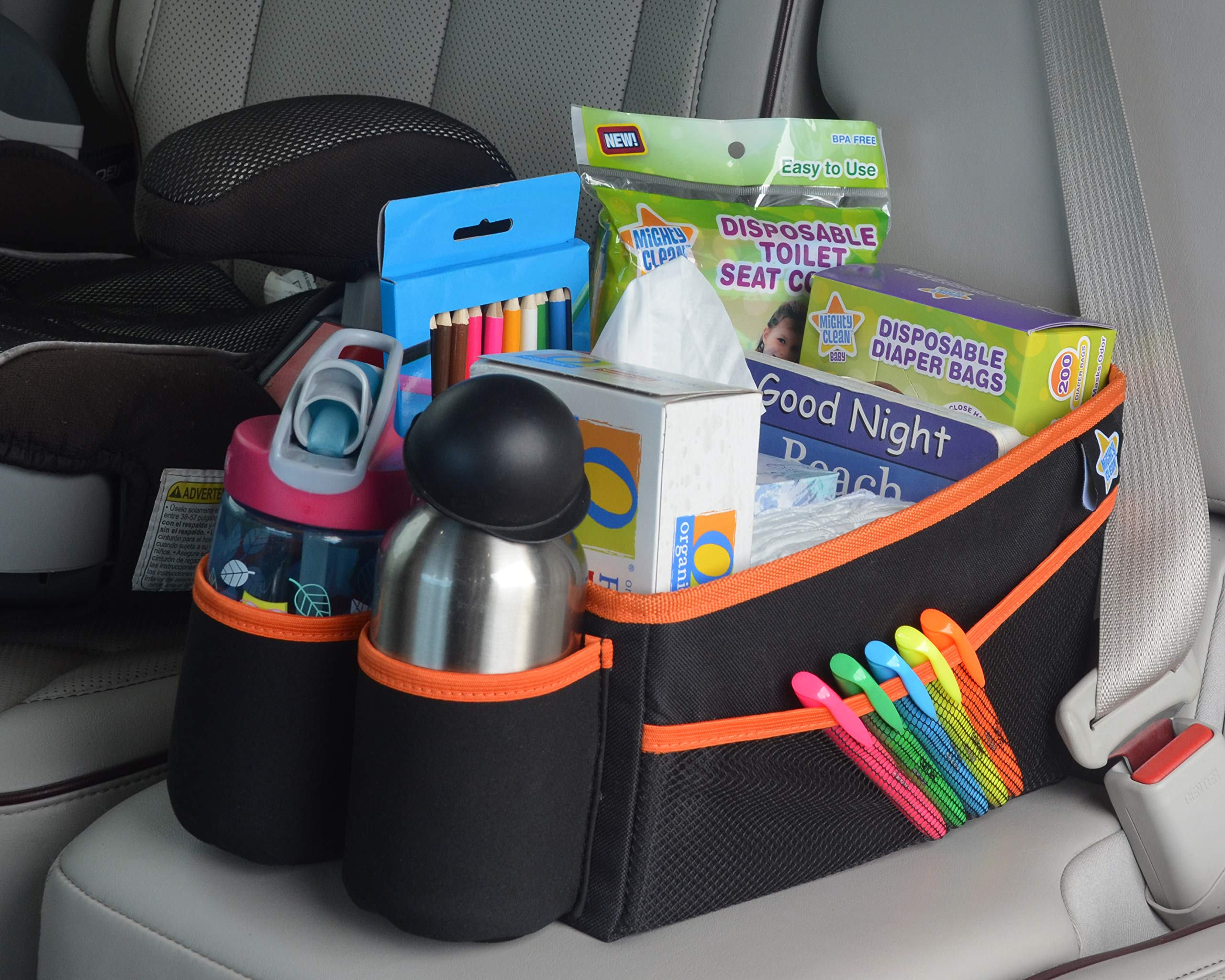 Mighty Clean Car Storage Organizer - Use in The Trunk, or Front or Back Seat with 8 Side Pockets + 1 Zippered Pouch + 2 mesh Pouches + 2 Cup Holders for Toys, Books, Drinks, Tissues, Diapers & More by Mighty Clean