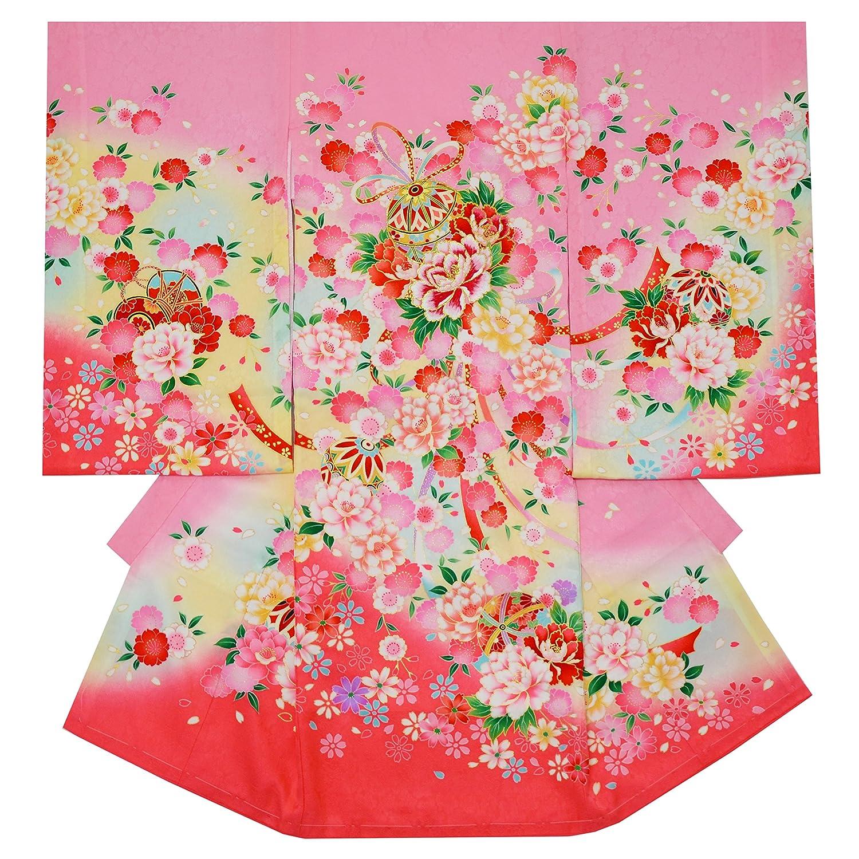 お宮参り 着物 女の子 初着 産着 正絹 毬 花柄 ピンク 女児 祝着 一つ身 着物タウン 3370-01109   B079HW8Q3D