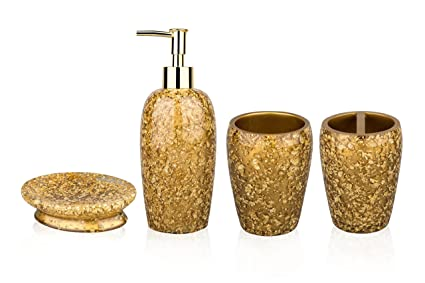 siloko lujo Royal resina Broken Goldleaf 4 piezas Juego de accesorios de baño dispensador de loción