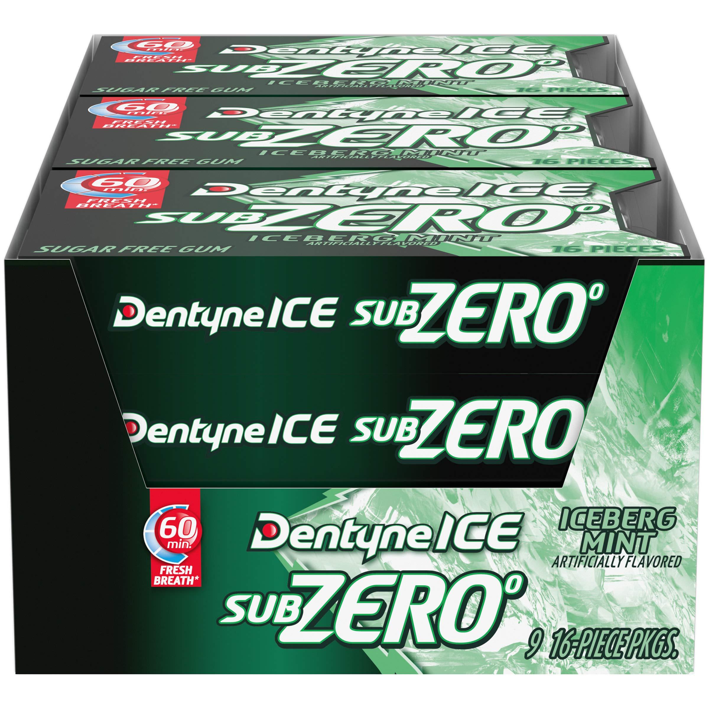 Iceberg Mint Dentyne Ice Sub Zero Gum, nine 16Piece Pack (144 totalPiece)