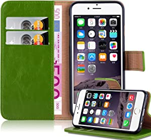 Cadorabo Book Case Compatible with Apple iPhone 6 Plus/iPhone 6S Plus in Grass Green - with Magnetic Closure, Stand Function and Card Slot - Wallet Etui Cover Pouch PU Leather Flip