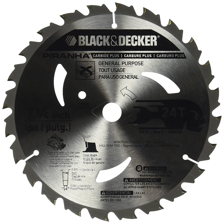 Black decker pr824 24t 7 14 inch carbide saw blade circular black decker pr824 24t 7 14 inch carbide saw blade circular saw blades amazon greentooth Choice Image
