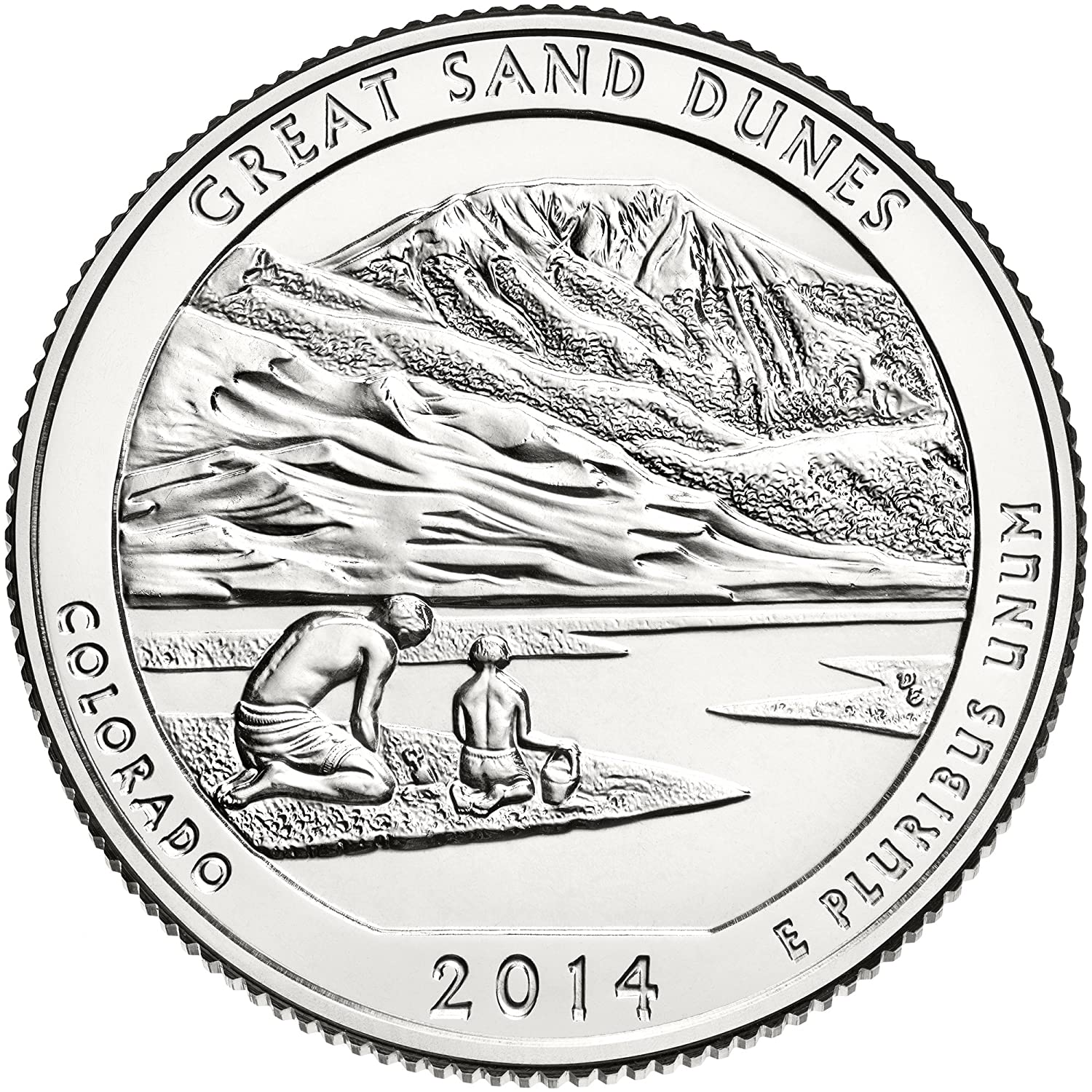 SILVER AMERICA THE BEAUTIFUL with OGP 2014-P  GREAT SAND DUNES CO ATB COIN 5 Oz