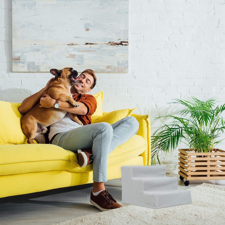 Tiertreppe innen Relaxdays Hundetreppe 3 Stufen Bett /& Couch 30x35x45 cm kleine /& gro/ße Hunde Stoffbezug Farbwahl