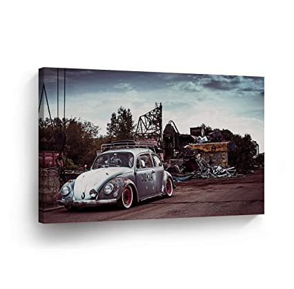 Amazon com: Old Rusty Volkswagen VW Beetle in The Junk Yard Canvas