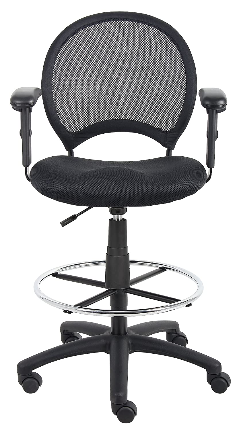 Boss Office Products B16216 Mesh Drafting Stool with Adjustable Arms in Black Norstar Office DBA Boss