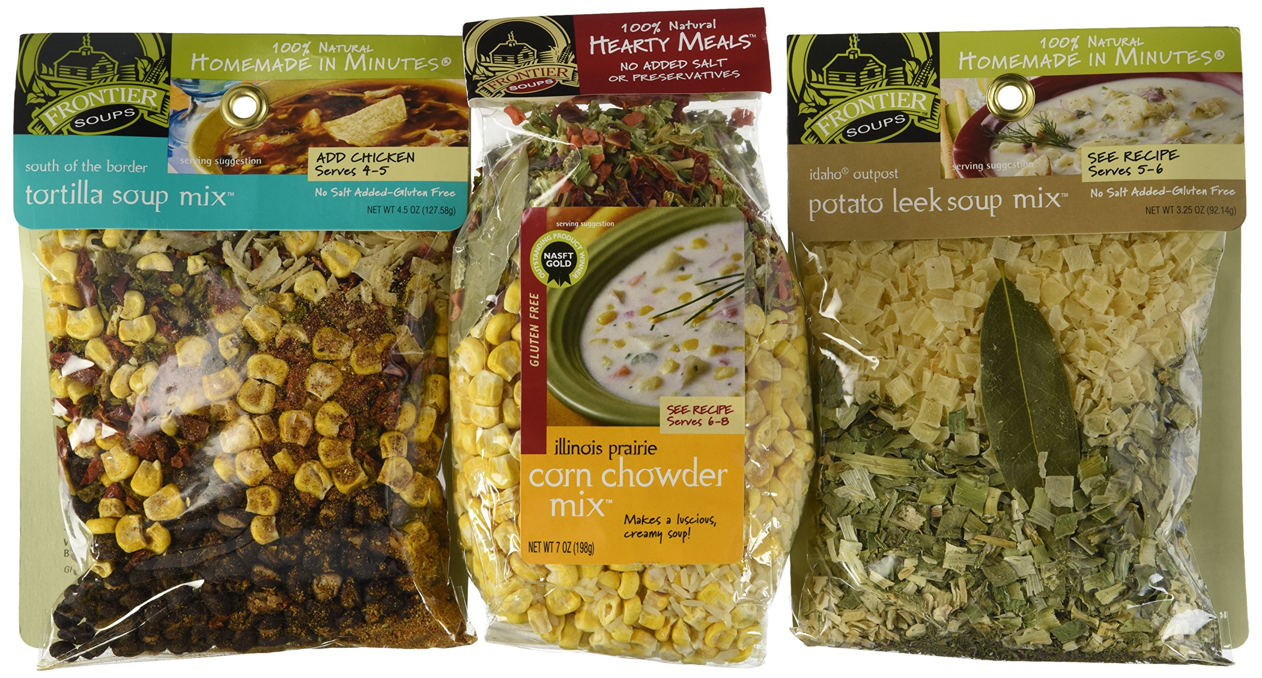 Frontier Soups 100% Natural Homemade In Minutes Gluten-Free Soup Mix 3 Flavor Variety Bundle: (1) South Of The Border Tortilla Soup Mix, (1) Illinois Prairie Corn Corn Chowder Mix, and (1) Idaho Outpost Potato Leek Soup Mix, 3.25-7 Oz. Ea. by Frontier Soups