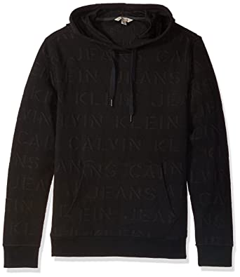 19c9f76da4e1 Calvin Klein Jeans Men s Extreme Black Logo Jacquard Hoodie Sweatshirt at Amazon  Men s Clothing store