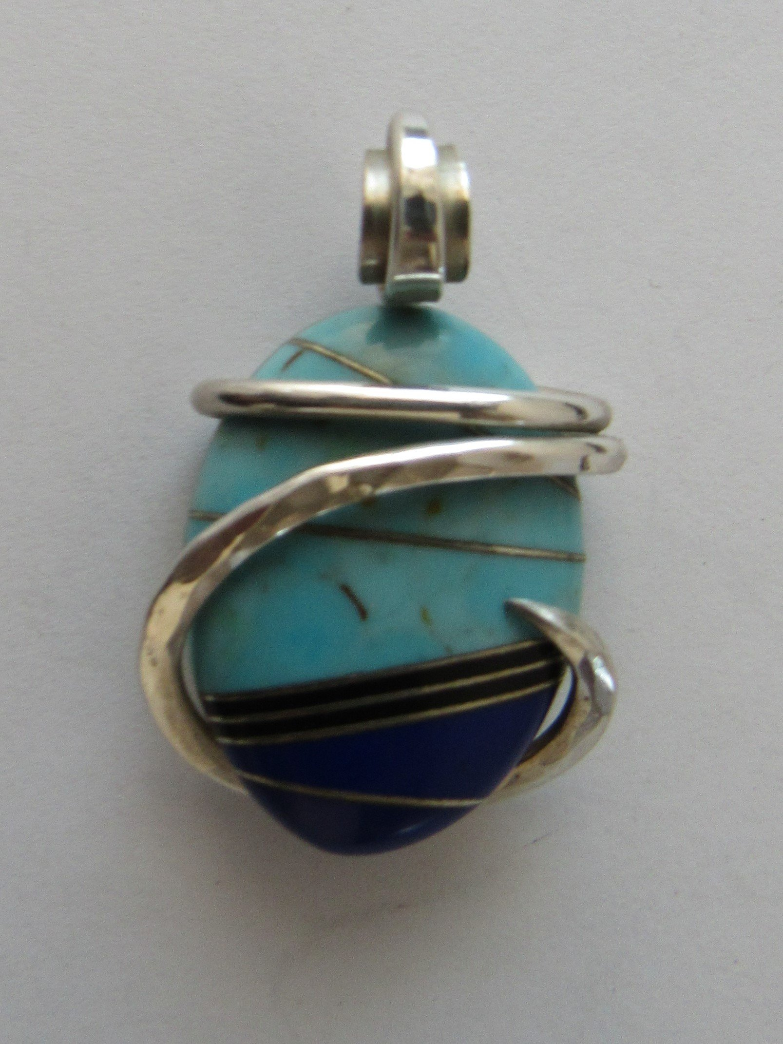 Turquoise/Lapis Lazuli Wrapped Stone Pendant by Isabella Roth