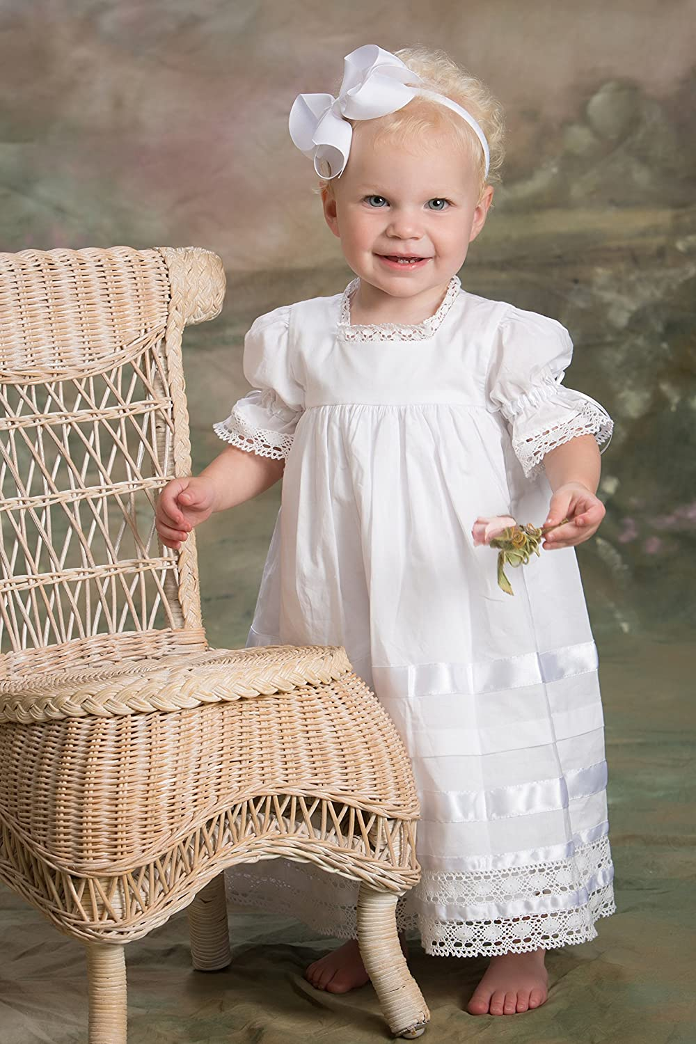 3f717b1b Amazon.com: Strasburg Children Lace Flower Girl Dress Vintage Heirloom Lace  Dresses White Ivory: Clothing