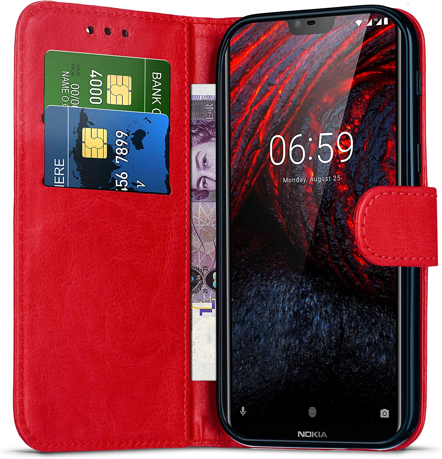 Nokia 5.1 Wallet Case with Card Holder Leather Flip Notebook Case Cover Black Magnetic for Phone Nokia 5.1 TA-1061 // TA-1081 Kickstand Protective Case Stand Shockproof Case