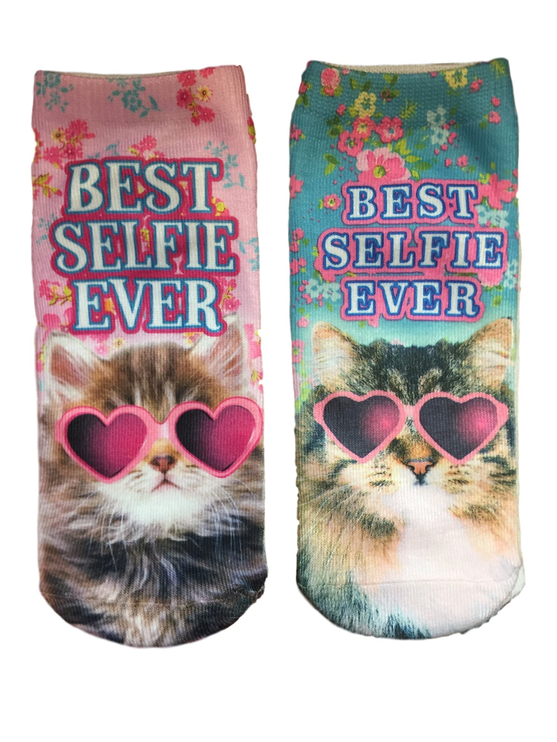 HARAJUKU Printed Socks Best Selfie Ever Cat in Heart Shaped Sunglasses