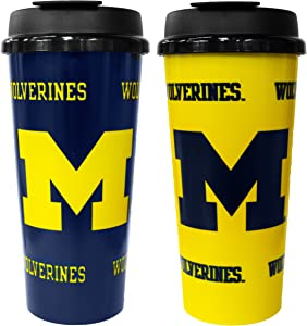 GameDay Novelty NCAA Michigan Wolverines Insulated Travel Tumbler with No Spill Flip Lid, 16 oz, 2 Pack