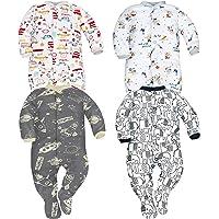 Sibinulo Niño Niña Pijama Bebé Pelele de Algodón- Tamaños 56-74 - Pack de 4