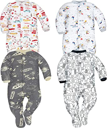 Sizes from 0 to 9 Months SIBINULO Baby Boys Baby Girls Sleepsuit with Feet Mix Pack of 2