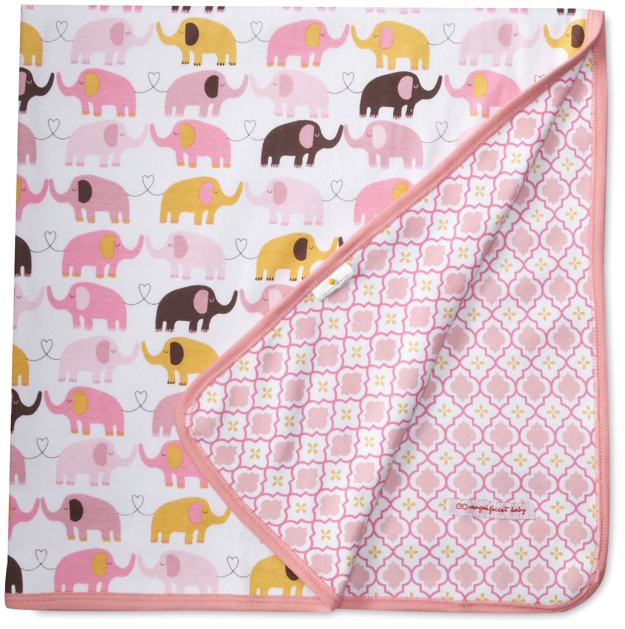 Magnificent Baby Baby-Girls Newborn Reversible Blanket, Elephant/Marrakesh, One Size by Magnificent Baby