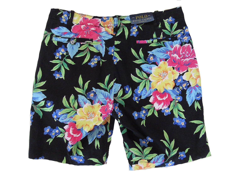 9f37f1722bbc RALPH LAUREN Polo Mens Straight Fit Linen Blend Shorts Black Floral at  Amazon Men s Clothing store