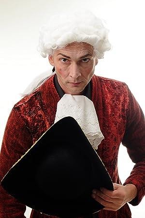 WIG ME UP ® - DH1126-P60 Peluca Halloween Hombre Noble Rey Oficial Barroco Corto