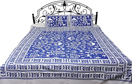 Exotic India Bedspread with Hand Printed Folk Figures Inspired by Warli Art - Pure Cotton with pillo - Color Dutch Blue Color