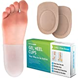 Gel Heel Cups for Men Women - Breathable Reusable Soft Silicone Heel Cushion Sleeve Protectors - Foot Care Socks from Plantar Fasciitis Achilles Tendonitis - Cracked Sole Heel Pain & Spur