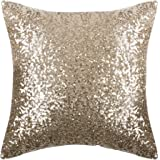 "Sparkling Sequins Throw Pillow Cover - PONY DANCE Solid Throw Pillow Cover Glitter Pillow Case with Sequins Including Hidden Zipper Design,18"" x 18""(45 x 45 cm),One Pack,Light Gold"