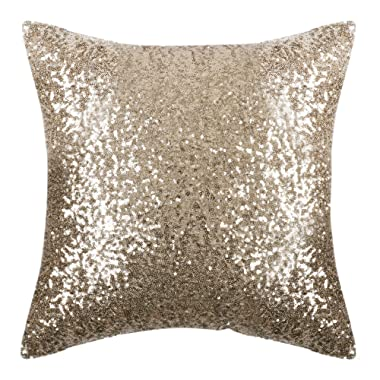 PONY DANCE Sparkling Throw Pillow - Sequin Cover Solid Cushion Cover Glitter Pillow Case with Sequins Including Hidden Zipper Design for Xmas, 18  x 18 (45 x 45 cm), Light Gold, One Piece