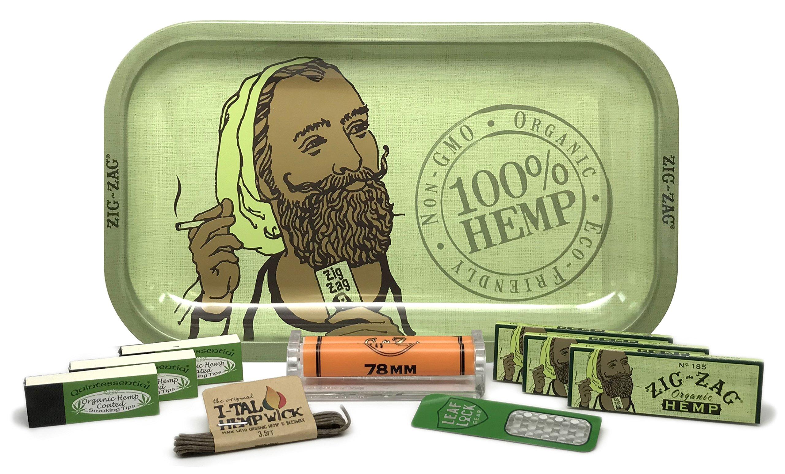 Zig Zag Organic Hemp Rolling Tray, 3 Packs of Zig Zag 1 1/4 Size Organic Hemp Papers, 3 Packs Quintessential Tips, 78mm Zig Zag Roller, ITal Hemp Wick with Leaf Lock Gear Grinder Card - 10 Item Bundle by Zig Zag, Leaf Lock Gear
