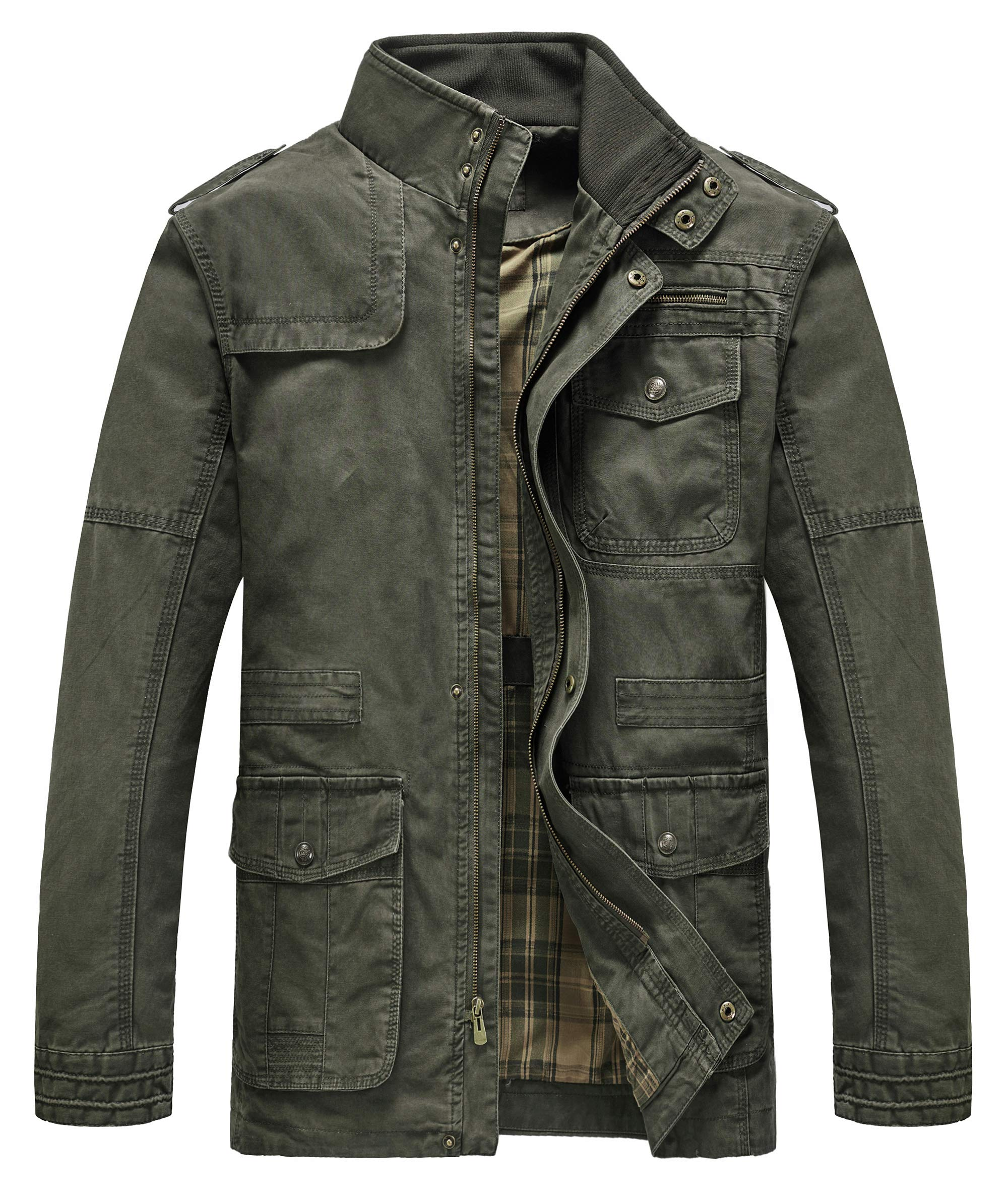 Heihuohua Men's Classic Field Coat Cotton Stand Collar Military Windbreaker Jacket, Green Army, Medium by Heihuohua