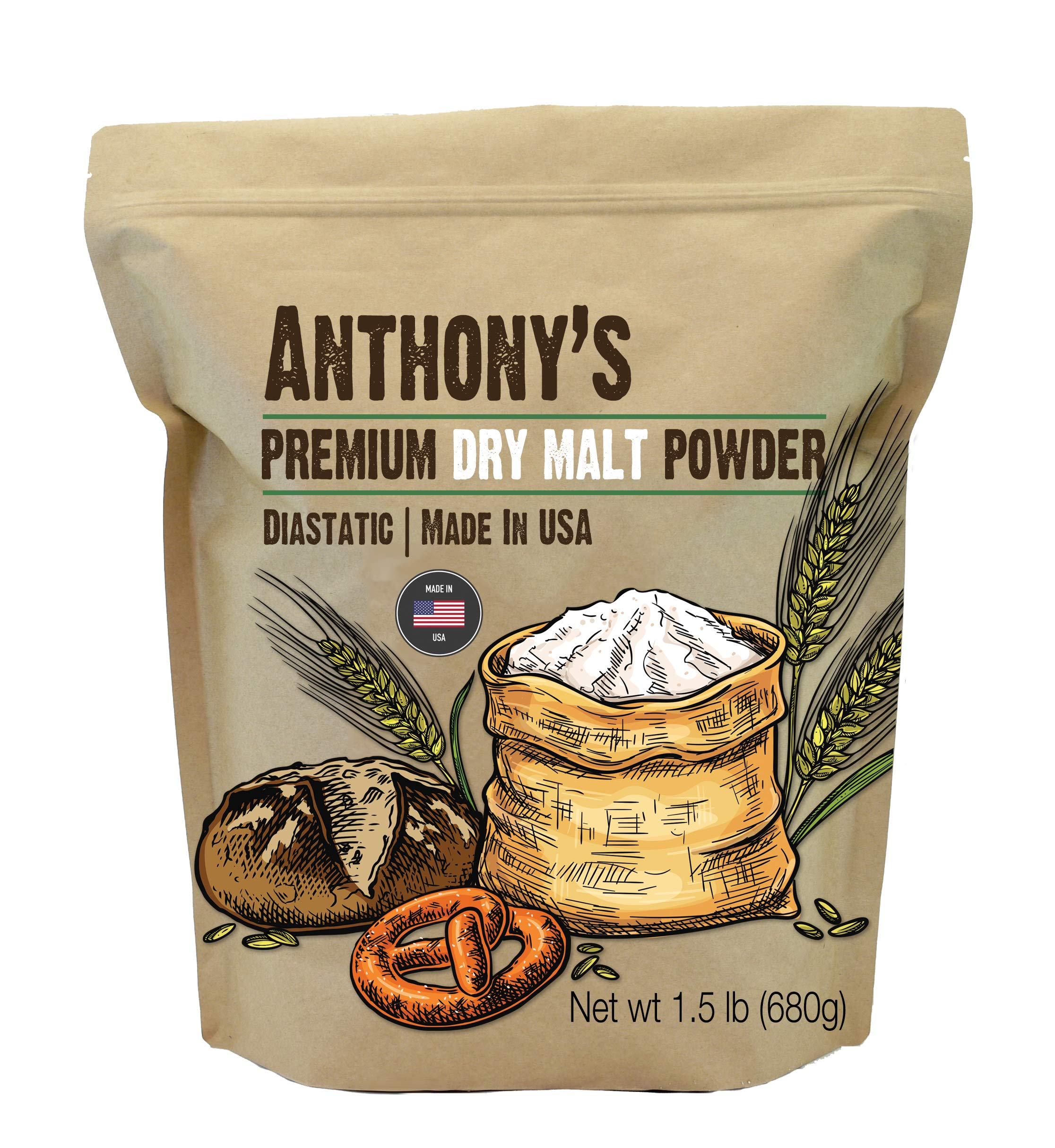 Anthony's Diastatic Dry Malt Powder, 1.5 lb, Made in the USA, Diastatic, Malted Barley Flour