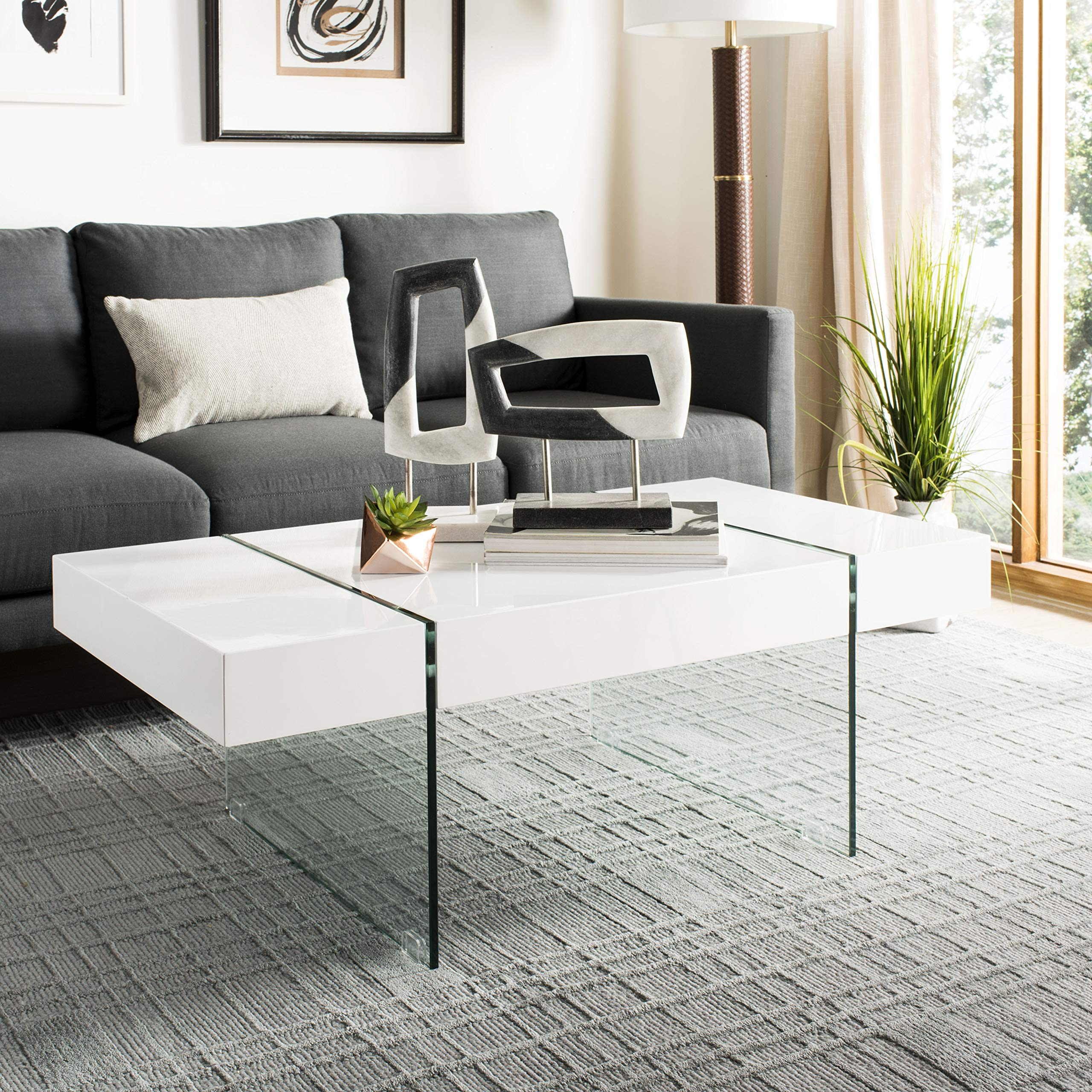 Safavieh Home Collection Jacob White Rectangular Glass Leg Modern Coffee Table by Safavieh